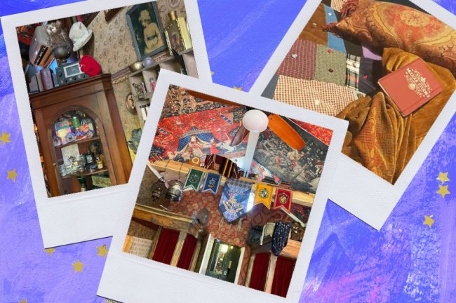 Montagem sobre fundo azul com fotos do quarto tematizado de Harry Potter