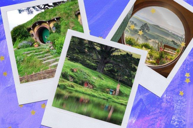 Montagem sobre fundo azul com fotos de Hobbiton