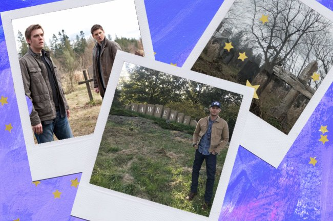 Montagem sobre fundo azul com fotos de Lawrence