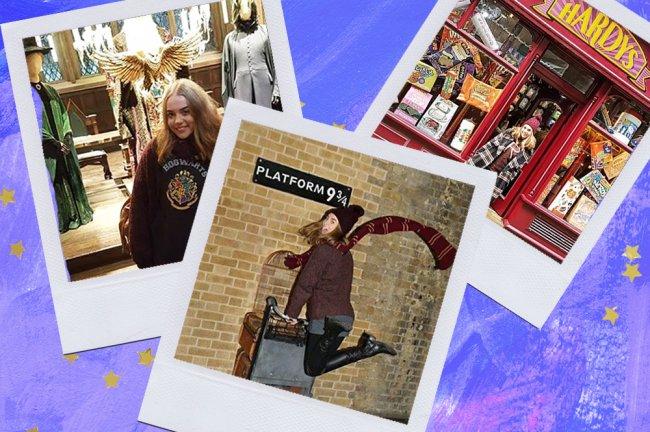 Montagem sobre fundo azul com fotos do tour de Harry Potter, em Londres
