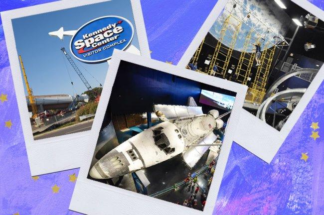 Montagem sobre fundo azul com fotos do Kennedy Space