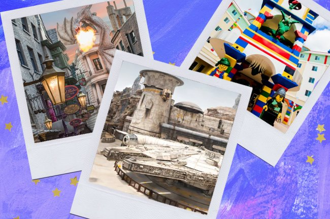 Montagem sobre fundo azul com fotos de parques em Orlando