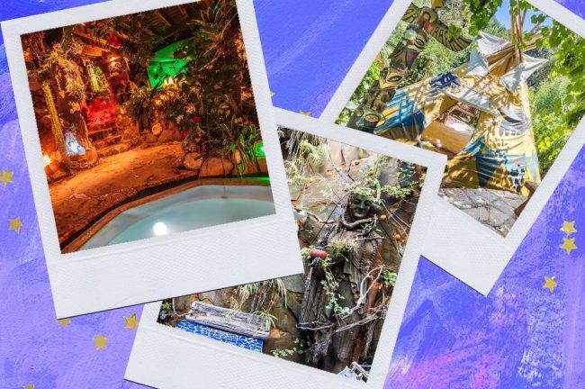 Montagem sobre fundo azul com fotos de um Airbnb tematizado do Piratas do Caribe