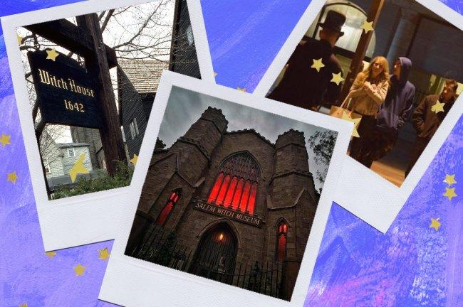 Montagem sobre fundo azul com fotos de Salem