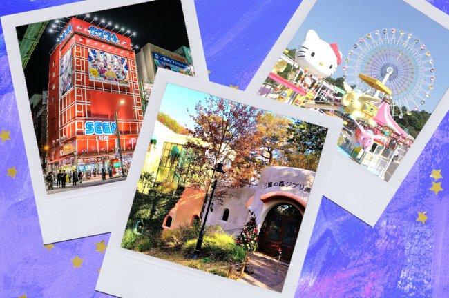 Montagem sobre fundo azul com fotos de Tóquio
