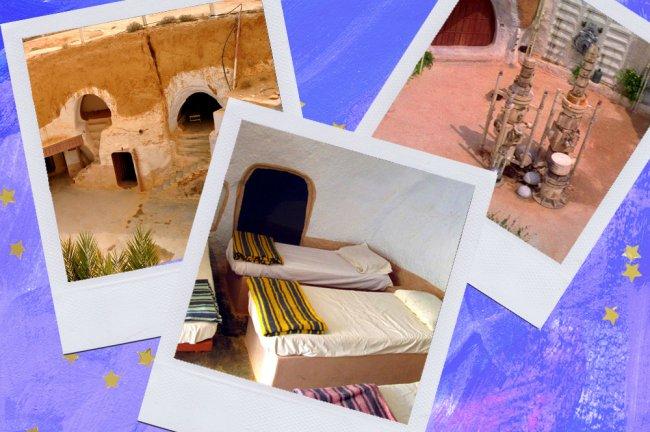 Montagem sobre fundo azul com fotos do Hotel Sidi Driss