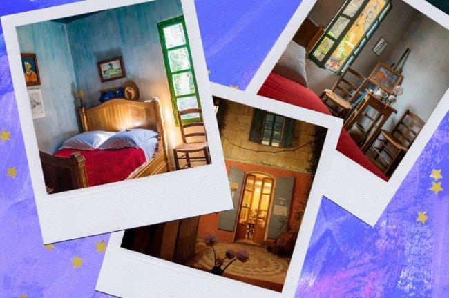 Montagem sobre fundo azul com fotos do quarto tematizado do Van Gogh