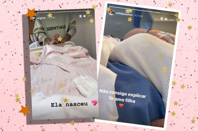 Stories postados por Zé Felipe e Virgínia Fonseca após o nascimento da filha; aparece apenas um cobertor e uma cama de hospital