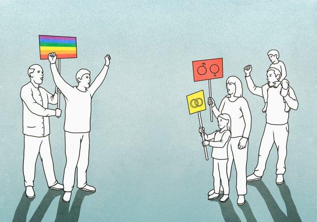 Ilustração de pessoas da família tradicional brasileira contra a manifestação em prol do orgulho LGBTQIA+
