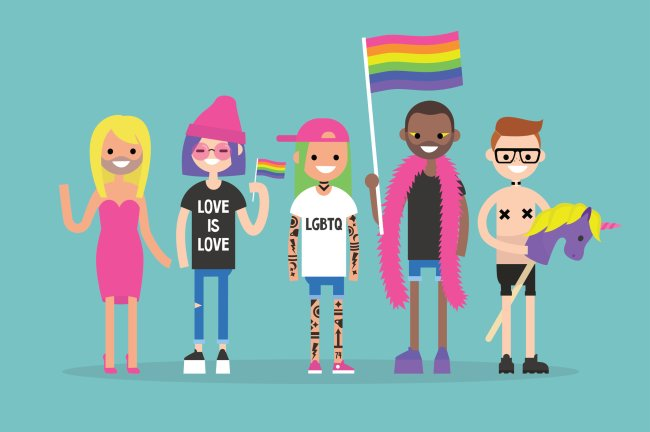 Ilustração com pessoas de diferentes estilos que fazem parte da comunidade LGBTQIA+