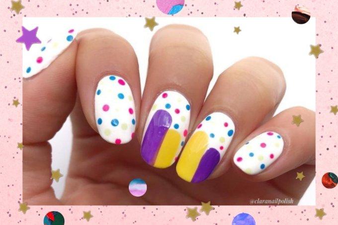 Inspiração de nail art com bolinhas