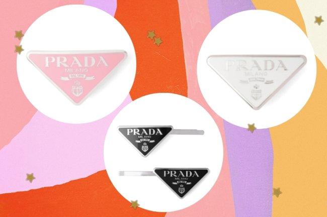 Montagem com os modelos de presilha da grife Prada, nas cores preto, branco e rosa.