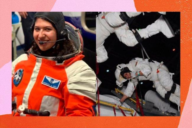 Duas imagens da jovem brasileira Andressa Costa. Na primeira, ela aparece usando um traje espacial vermelho. Na segunda, usa um traje branco e está em um simulador com outro estudante.