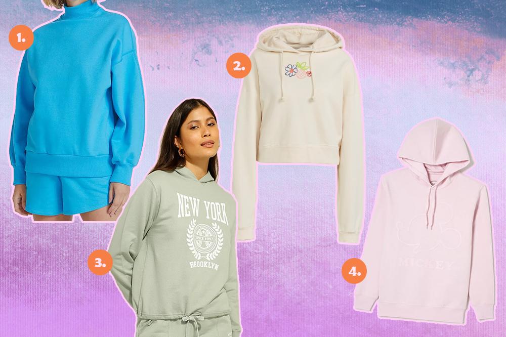 Montagem com quatro blusas de moletom diferentes. Uma azul clara, uma bege com florzinhas, uma modelo usando um moletom verde e um moletom rosa pastel com Mickey em alto-relevo. O fundo é lilás, roxo e rosa.