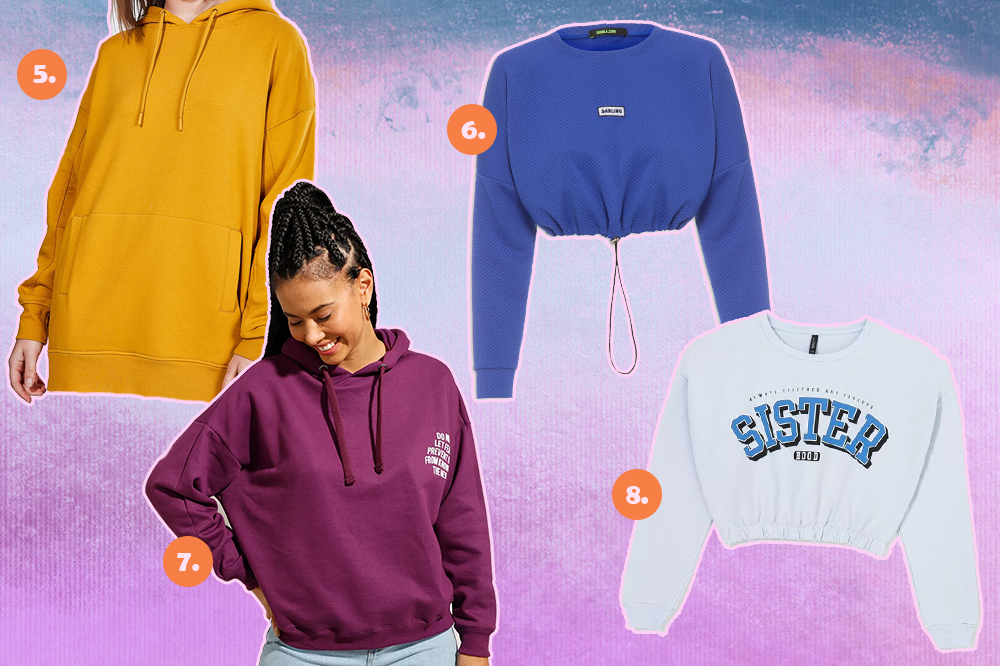 Montagem com quatro blusas de moletom diferentes. Um na cor mostarda, outro azul, outro roxo e um branco escrito