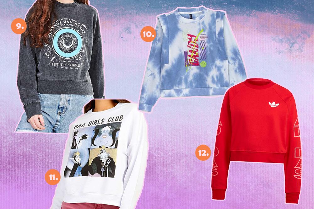 Montagem com quatro blusas de moletom diferentes. Um cinza com estampa mística, um tie-dye azul, um branco com estampas de vilãs da Disney e um vermelho. O fundo é lilás, roxo e rosa.