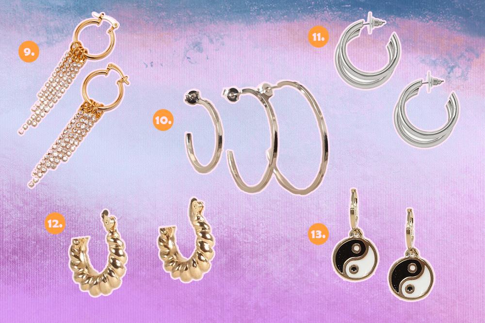 Montagem com fundo degradê de lilás, roxo e azul com opções de brincos de argola. Uma dourada com franjas de cristais, um kit com três argolas prateadas de tamanhos diferentes, uma argola prateada, uma dourada trançada e uma dourada com símbolo yin-yang.