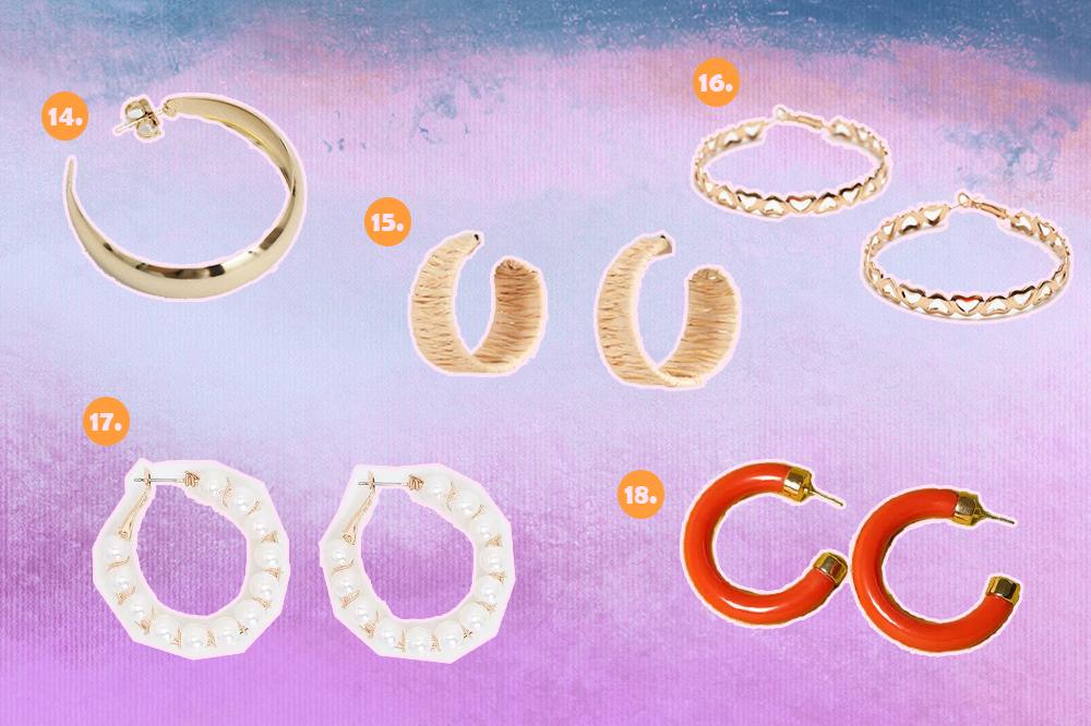 Montagem com fundo degradê de lilás, roxo e azul com opções de brincos de argola. Uma dourada de tamanho médio, uma pequena de palha, uma dourada de corações, uma de pérolas e uma laranja de resina.