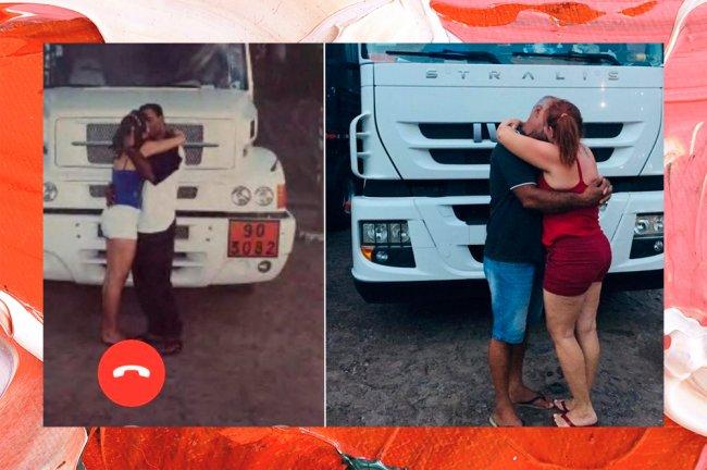 Casal recria foto de beijo tirada há 20 anos, quando se conheceram. Ao fundo, aparece um caminhão