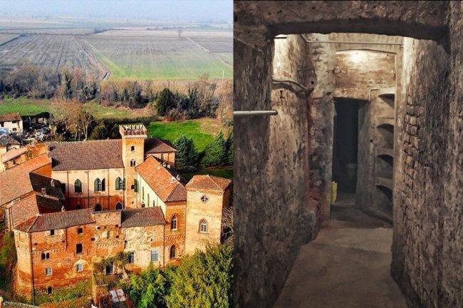 Vista aérea do Castello Sannazzaro, localizado numa zona rural, e de uma passagem secreta dentro dele