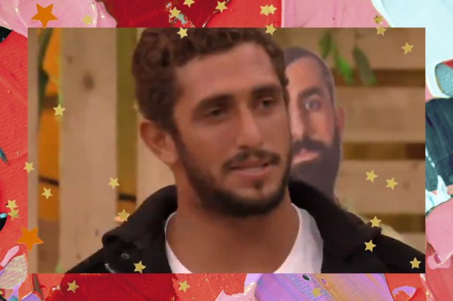 Imagem de Chumbo no Encontro com Fátima Bernardes; ele está olhando para a apresentadora e usa uma blusa branca com casaco preto; a margem é uma textura de tintas em tons de rosa, vermelho, azul, roxo e verde com estrelas amarelas e laranjas como decoração