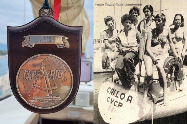 Medalha da competição Cape2Rio e barco tripulado por mulheres italianas, nos anos 70