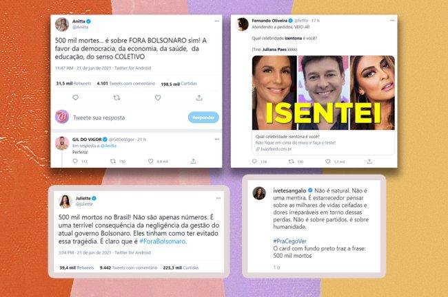 Imagem mostra diferentes discursos contra o governo atual, de Anitta, Juliette, Gil do Vigor e Ivete Sangalo