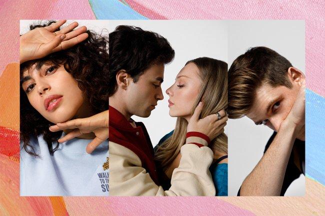 Montagem com imagem de MINA EL HAMMANI como NADIA na esquerda, com uma mão na testa e outra no queixo. No meio um casal quase se beijando e no canto o ator com a cabeça baixa olhando por cima do antebraço