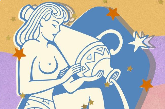 Ilustração do Signo de Aquário; uma mulher despeja um jarro de água