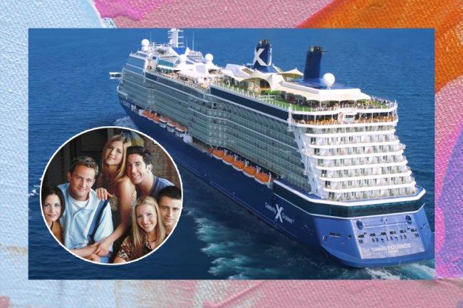Imagem de um cruzeiro em alto mar com uma foto do elenco de Friends ao lado