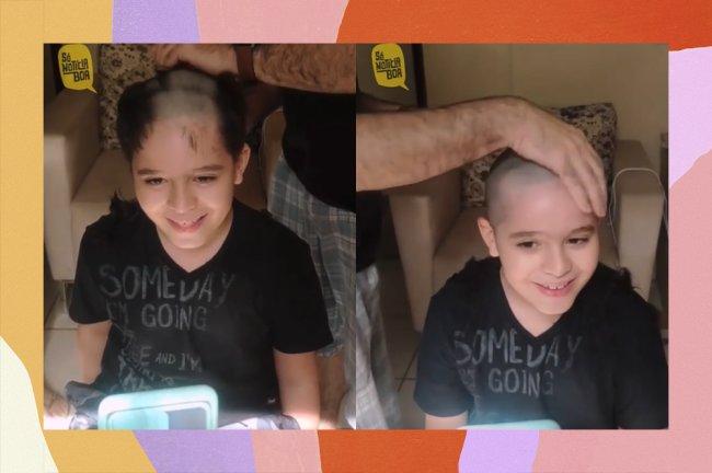 Criança raspando o cabelo em chamada de vídeo em solidariedade ao amigo com câncer