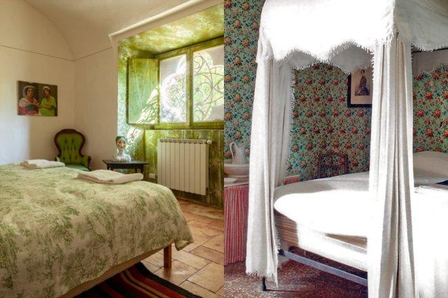 Fotos dos quarto no Castelo Sannazzaro. Um é verde e outro tem um mosquiteiro branco.