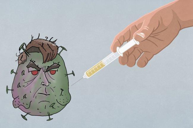 Ilustração de uma mão aplicando uma vacina no vírus da Covid, que, na verdade, é uma caricatura de Jair Bolsonaro
