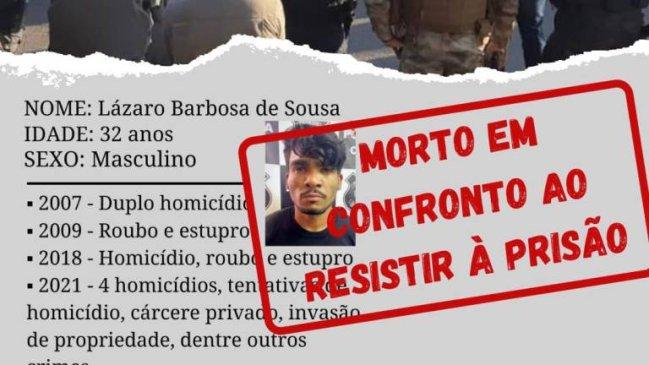 Documento policial registra que Lázaro Barbosa foi morto por