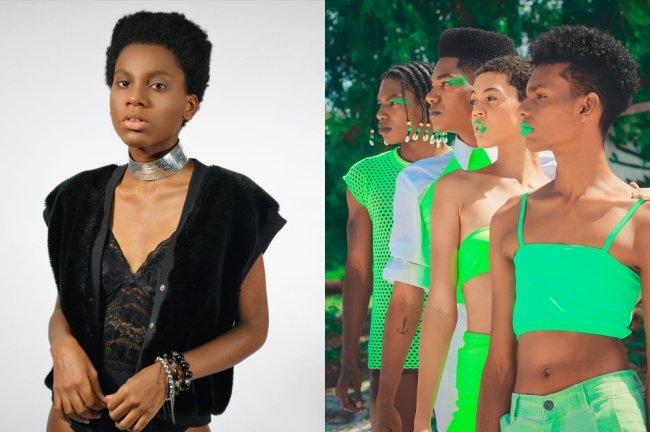 Uma modelo negra posando com um colete de pelinho preto e uma lingerie. À direita, modelos negros em editorial com roupas verde neon.