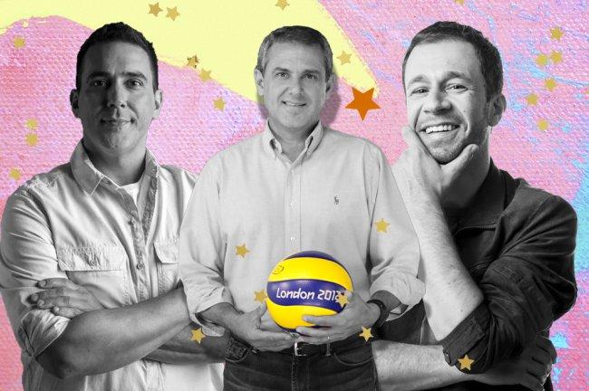 Montagem com as fotos em preto e branco de André Marques, José Roberto Guimarães e Tiago Laifert. O fundo é rosa com amarelo, e com estrelas douradas.