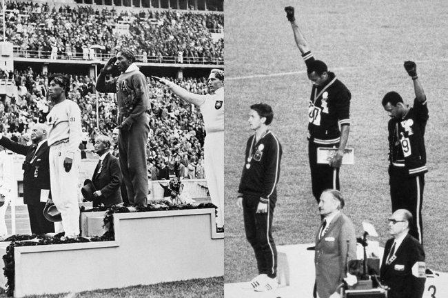 Imagem mostra dois protestos políticos realizados em Olimpíadas. O primeiro, contra o Nazismo. O segundo, em prol dos Panteras Negras.