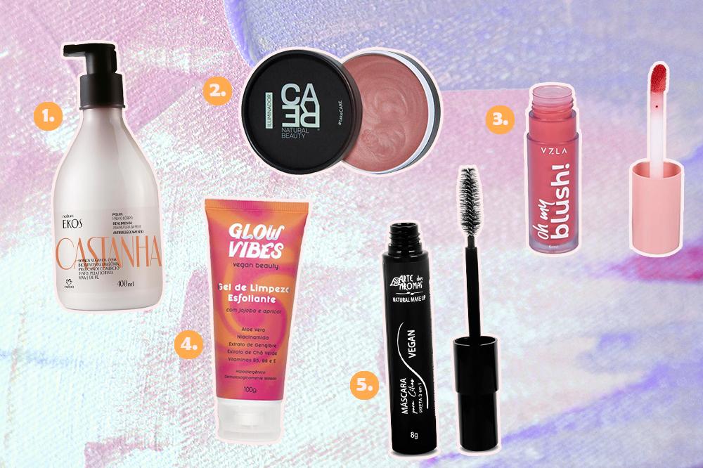 Montagem com cinco produtos de beleza veganos. Há um creme hidratante, iluminador em creme, blush líquido, esfoliante e máscara de cílios.