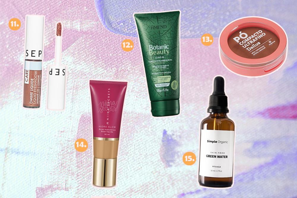 Montagem com cinco produtos de beleza veganos. Há uma sombra líquida, um leave-in, um pó facial, uma base e uma água de beleza.