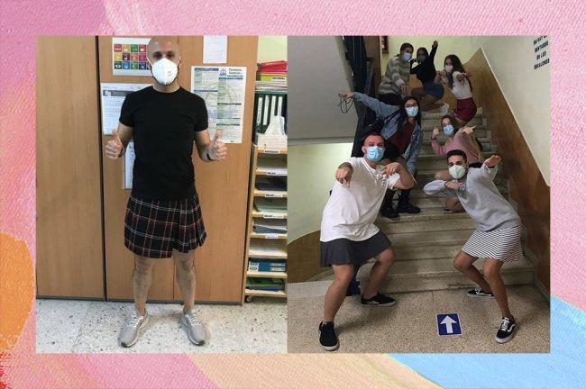 Professores vestindo minissaia na escola em protesto contra aluno que sofria bullying por causa das peças de roupa que usava