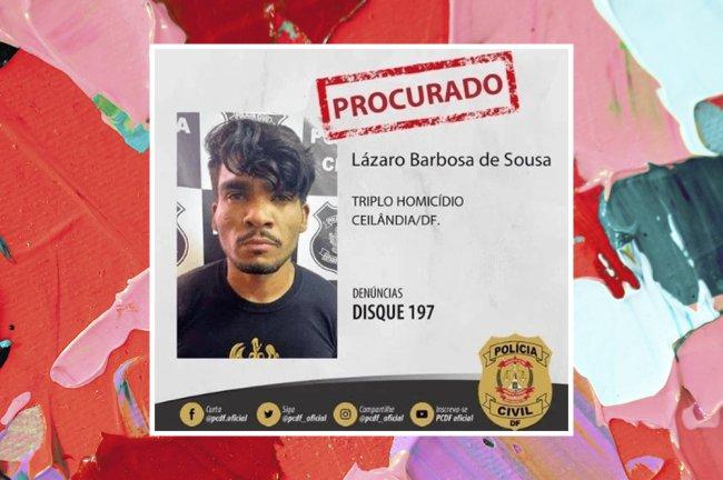 Imagem do serial killer de Brasília com o escrito de procurado. Ele é negro e tem o cabelo liso e bigode