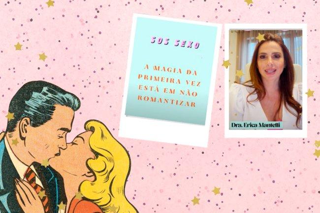 Colagem com desenho retrô de casal se beijando, imagem escrita