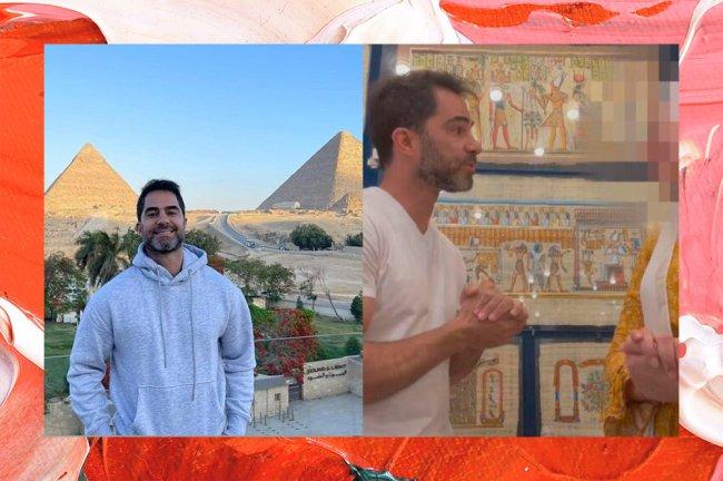 Na colagem aparecem duas imagens de Victor Sorrentino. Na primeira, o médico usa moletom cinza e aparece sorrindo na frente de pirâmides, no Egito. Na segunda, pede desculpas para vendedora egípcia