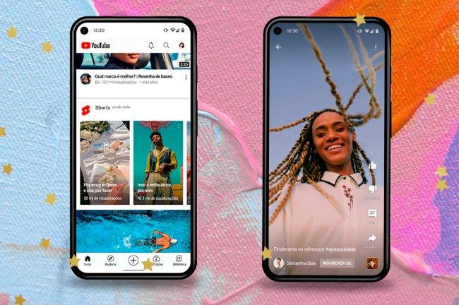 Colagem com dois celulares que mostram a interface do Youtube Shorts