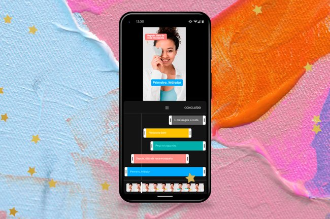 Colagem com celular mostrando interface de criação do Youtube Shorts