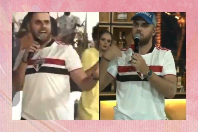 Zé Neto vestindo a camisa do São Paulo em live e tendo comportamentos homofóbicos