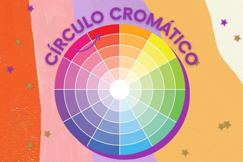 Montagem com fundo amarelo, bege, lilás e salmão com imagem do círculo cromático.
