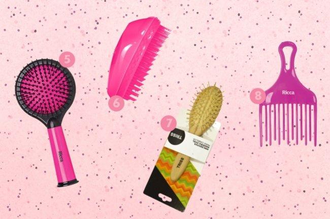 Fundo rosa com bolinhas, e imagens de vários tipos de escova espalhados pela foto.