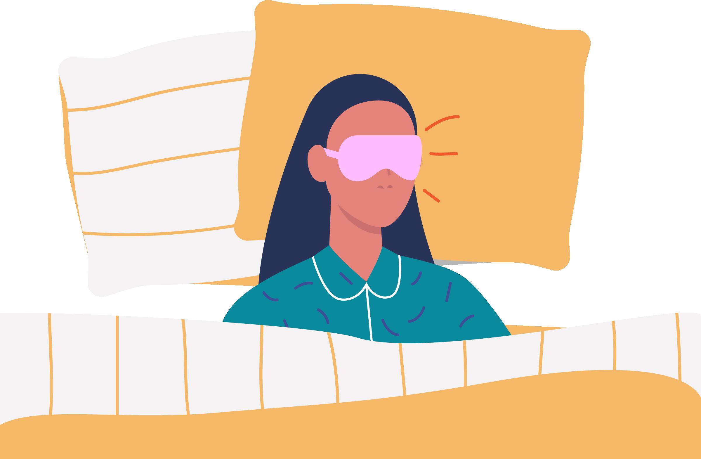 Ilustração de uma garota dormindo em uma capa usando tapa olho.
