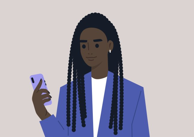 Jovem mulher, de traças, blusa branca e blazer azul, segurando o celular